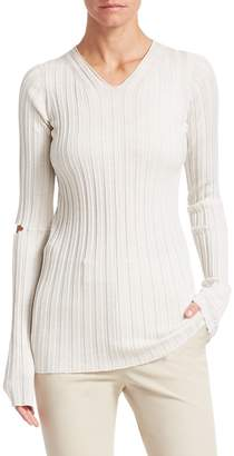 Helmut Lang Slash Wool Ribbed Sweater