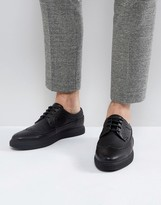 Asos Design DESIGN creeper brogue shoes in black faux leather
