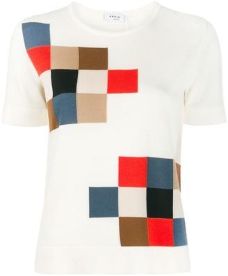 Akris Punto Square Intarsia Knitted Top
