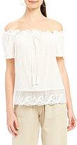 M.S.S.P. Off-The-Shoulder Textured Cotton Blouse