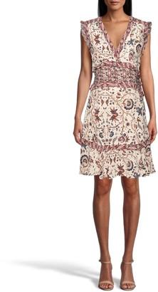 Nicole Miller Jakarta Print Ruffle Mini Dress