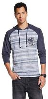 Men's Striped Colorblock Raglan Lightweight Hoodie Navy Heather - Citizen Wolf