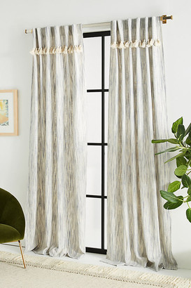 Anthropologie Tasseled Sadie Curtains, Set of 2 By in Blue Size XS
