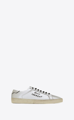 Saint Laurent Court Classic Sl/06 Embroidered Sneakers In Used-look Metallic Leather Silver 5