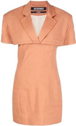 Jacquemus Notched-Lapel Short-Sleeve Dress
