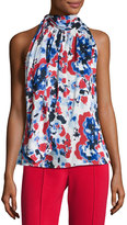 St. John Abstract Shadow-Print Halter Top, Blue/Red/White