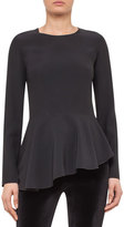 Akris Punto Asymmetric Peplum Long-Sleeve Blouse, Black