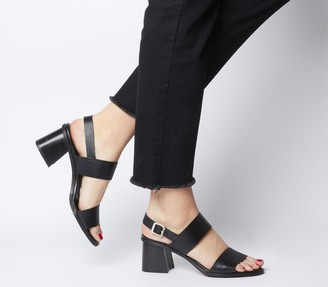 Office Mover Mid Block Heels Black Leather