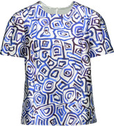 Oscar de la Renta Printed silk and cotton-blend twill top