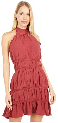 Lost + Wander Brunch In Bordeaux Mini Dress (Wine) Women's Clothing
