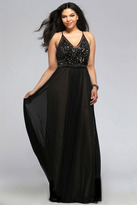 Faviana 9373 Mesh v-neck plus size prom dress with lace and beading details