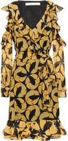 Diane von Furstenberg Cold-shoulder Ruffled Printed Georgette Dress