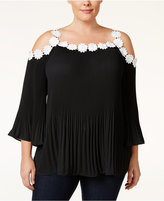 INC International Concepts Plus Size Floral-Trim Cold-Shoulder Top, Only at Macy's