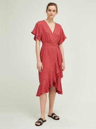 Great Plains Dana Dot Dress In Earth Red And White - 12