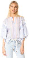 Rebecca Taylor Short Sleeve Variegated Stripe Top