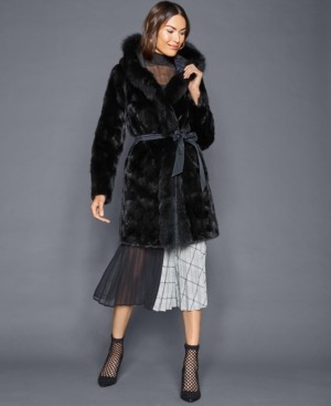 The Fur Vault Reversible Mink Fox-Trim Coat