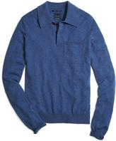 Brooks Brothers Blue Cashmere Knit Polo