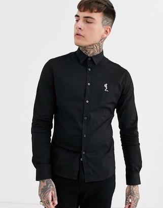 Religion muscle fit logo poplin shirt in black