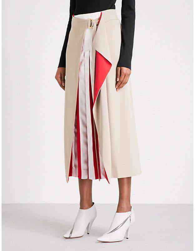 Diane von Furstenberg Pleated crepe midi skirt