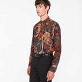 Men's Slim-Fit 'Monkey' Print Cotton Shirt With 'Artist Stripe' Cuff Lining
