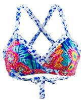 Luli Fama Multicolor Trimmed V-top Bralette Swimsuit Beautiful Mess.