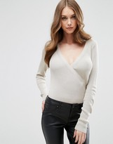 Asos Knitted Body In Rib With Wrap Front