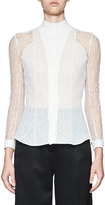 Olivier Theyskens Tentel Lace Button-Front Blouse, White