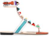 Fendi Embellished Leather Sandals - White