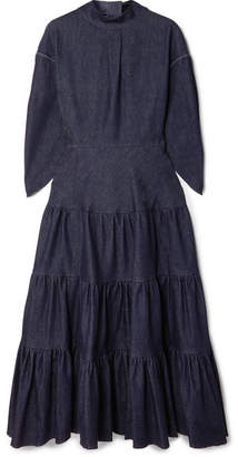 Chloé Tiered Denim Midi Dress - Dark denim