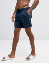 Asos Swim Shorts In Navy With Rubber Triangle Patch In Mid Length