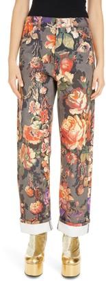 Dries Van Noten Floral High Waist Cuffed Denim Jeans
