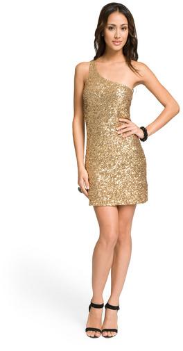 Alice + Olivia Gold One Shoulder Sequin Dress