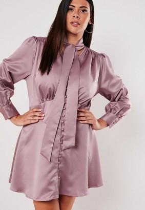 Missguided Plus Size Blush Satin Tie Neck Skater Dress