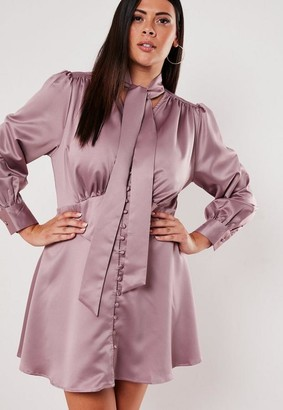 Missguided Size Blush Satin Tie Neck Skater Dress