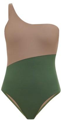 Casa Raki - Magda One-shoulder Bi-colour Swimsuit - Green Multi