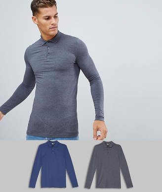 Asos Design DESIGN 2 pack muscle fit long sleeve jersey polo save-Multi