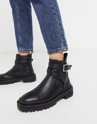 Raid Benicia chunky flat ankle boots in black