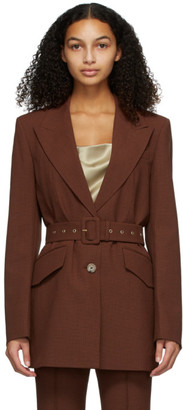 Nanushka Brown Houndstooth Honor Blazer