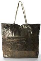 Carlos Falchi Brown Metallic Snakeskin Metallic Trim Extra Large Tote Handbag