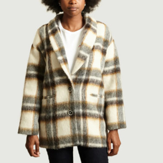 La Petite Francaise Multicolor Wool Plaid Pattern Turn Coat - 40 | wool | Multicolor