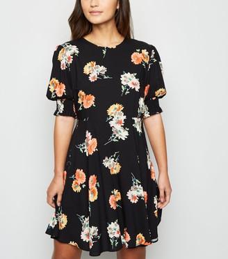 New Look Petite Floral Puff Sleeve Mini Dress