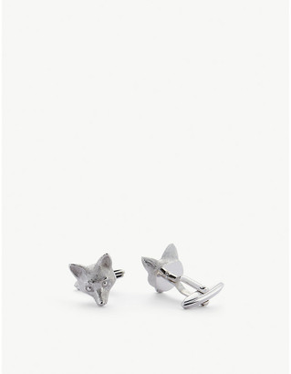 Lanvin Fox rhodium-plated cufflinks