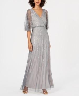Adrianna Papell Petite Beaded Kimono-Sleeve Gown