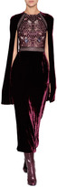 Marios Schwab Velvet/Lace Embellished Dress in Port