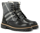 Burberry Shearling-lined Checked Felt And Leather Boots - Black