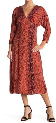 Angie Leopard Print Button Midi Dress
