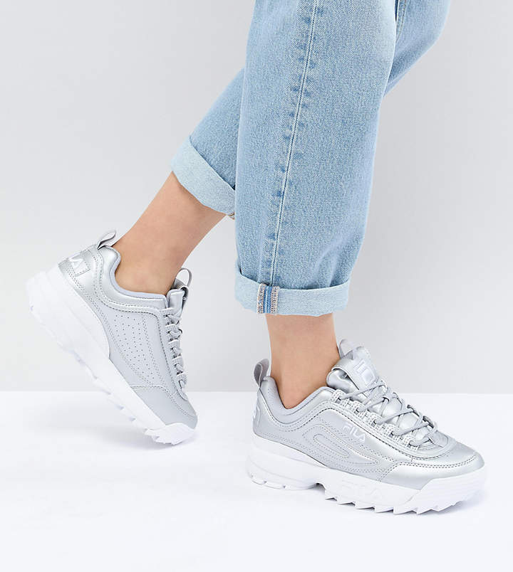 Fila Disruptor Trainers In Silver