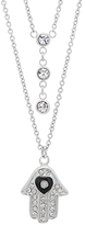 Simulated Diamond & Stainless Steel Hamsa Layered Necklace