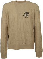 MSGM Logo Print Cable Knit Sweater