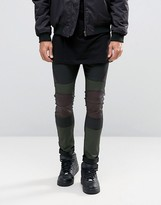 Asos Extreme Super Skinny Jeans With Leather Look Biker Panels